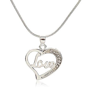 e81b089b68f Women's Cubic Zirconia tiny diamond Pendant Necklace Heart Letter Korean  Fashion Cute Chrome Imitation Diamond Silver