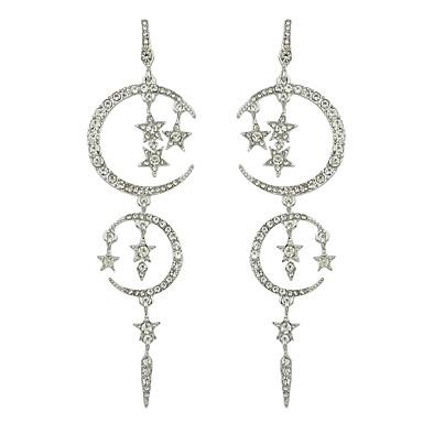 9944bbe7b Women's Chandelier Drop Earrings Imitation Diamond Earrings Moon Star  Stylish Luxury Jewelry Black / Silver For Daily Date 1 Pair #07134982