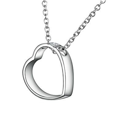 f5c28118e2bf Mujer Claro Zirconia Cúbica Collares con colgantes Collares de cadena Collar  Plateado Corazón Simple Básico Romántico