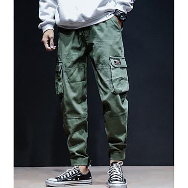povoljno Moderna odjeća za muškarce-Muškarci Dnevno Chinos Hlače - Jednobojni Pamuk Djetelina Crn Sive boje XL XXL XXXL