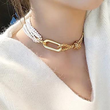 billige Mode Halskæde-Dame Hvid Klassisk Kort halskæde Imiteret Perle Trendy Guld 35 cm Halskæder Smykker 1pc Til Gade Natklub