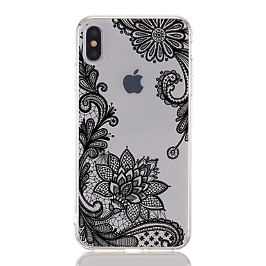 voordelige iPhone 7 hoesjes-hoesje Voor Apple iPhone XS / iPhone XR / iPhone XS Max Transparant / Patroon Achterkant Lace Printing / Bloem Zacht TPU