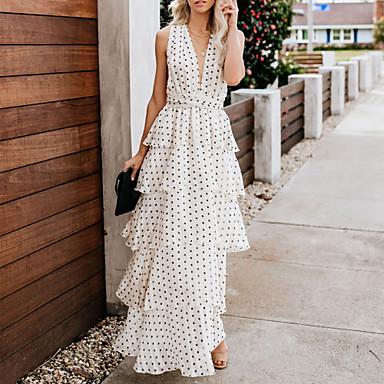 cheap White and Black Dresses-Women's Vacation Sexy Maxi Sundress - Polka Dot Backless Ruffle Deep V White M L XL