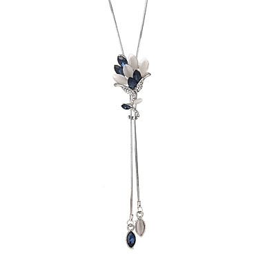 billige Mode Halskæde-Dame Krystal Lang Y Halskæde Blomst Koreansk Mode Moderne Sej Grå Blå 90 cm Halskæder Smykker 1pc Til Ceremoni Aftenselskab
