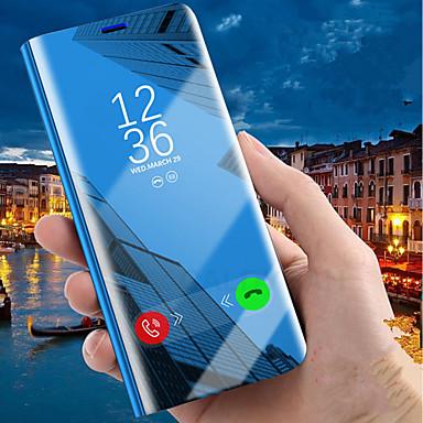 voordelige Galaxy J-serie hoesjes / covers-hoesje Voor Samsung Galaxy J8 (2018) / J7 Prime / J7 Max met standaard / Beplating / Spiegel Volledig hoesje Effen Hard PU-nahka