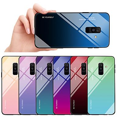 voordelige Galaxy A-serie hoesjes / covers-hoesje Voor Samsung Galaxy A6 (2018) / A8 2018 Schokbestendig / Stofbestendig Achterkant Kleurgradatie Hard TPU / Gehard glas