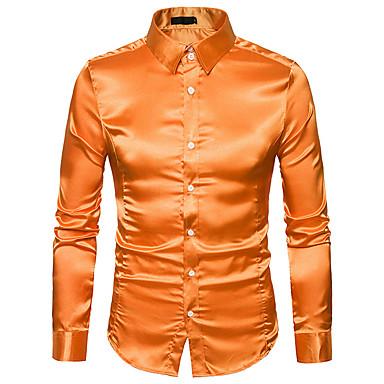baratos Camisas Masculinas-Homens Camisa Social Básico Sólido Algodão Amarelo L / Manga Longa