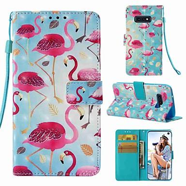 Недорогие Чехлы и кейсы для Galaxy S6-Кейс для Назначение SSamsung Galaxy S9 / S9 Plus / S8 Plus Кошелек / Бумажник для карт / Флип Чехол Фламинго Твердый Кожа PU