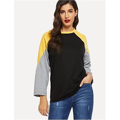 billige Hættetrøjer og sweatshirts til damer-Dame Afslappet Sweatshirt - Farveblok