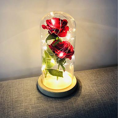 ieftine Lumini Novelty LED-brelong a crescut acasă decorare a condus lumina de noapte perfect Valentine's day cadou de sticlă acoperă baza de lemn