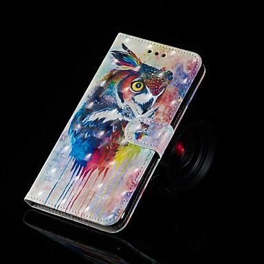 voordelige Galaxy J-serie hoesjes / covers-hoesje Voor Samsung Galaxy J7 (2017) / J7 (2018) / J6 Portemonnee / Kaarthouder / met standaard Volledig hoesje Uil Hard PU-nahka