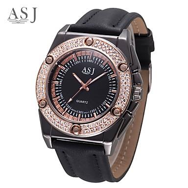 f04bf0238 ASJ رجالي ساعة فستان ياباني كوارتز جلد اصطناعي أسود / شوكولا ساعة كاجوال  مماثل عتيق -