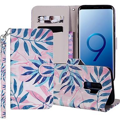 Недорогие Чехлы и кейсы для Galaxy S6-Кейс для Назначение SSamsung Galaxy S9 / S9 Plus / S8 Plus Кошелек / Бумажник для карт / со стендом Чехол дерево Твердый Кожа PU