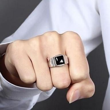 billige Damesmykker-Herre Obsidian Ring Punk Motering Smykker Sølv Til Daglig