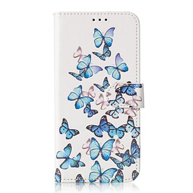 Недорогие Чехлы и кейсы для Galaxy S6-Кейс для Назначение SSamsung Galaxy S9 / S9 Plus / S8 Plus Бумажник для карт / С узором Чехол Бабочка Твердый Кожа PU