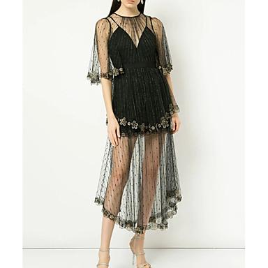 cheap White and Black Dresses-Women's A Line Dress Black S M L