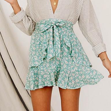 billige Nederdele-kvinders mini en line nederdele - blomster