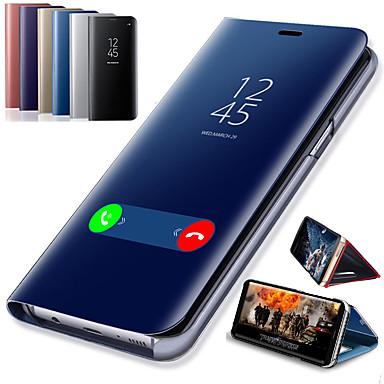 voordelige Galaxy A-serie hoesjes / covers-hoesje Voor Samsung Galaxy A6 (2018) / A6+ (2018) / Galaxy A7(2018) met standaard / Beplating / Spiegel Volledig hoesje Effen Hard PU-nahka / PC
