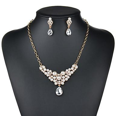 5ce3d3f78c81 Mujer Cristal Briolette Conjunto de joyas Perla Artificial Lujo ...