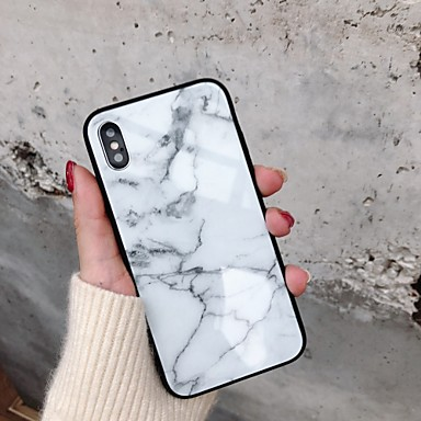 voordelige iPhone X hoesjes-hoesje voor hot model apple iphone xr / iphone xs max patroon achterkant marmer hard gehard glas voor iphone 6 6 plus 6s 6s plus 7 8 7 plus 8 plus x xs xr xs max