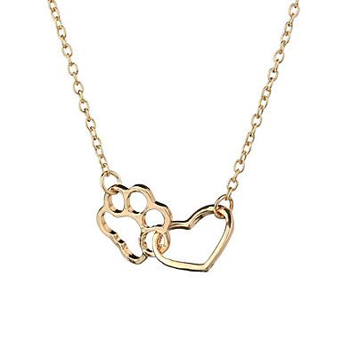 preiswerte Halsketten-Damen Pendant Halskette zweifarbig Herz Katzenklaue Europäisch Süß Modisch Modern Chrom Gold Silber 47+7 cm Modische Halsketten Schmuck 1pc Für Alltag Karnival Strasse Arbeit