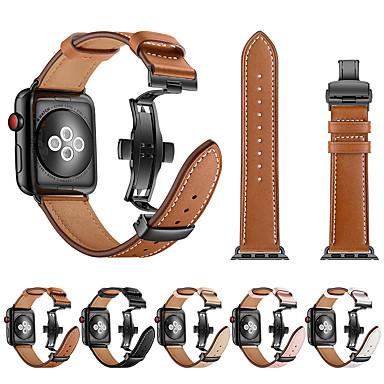 voordelige Smartwatch-accessoires-horlogeband voor apple watch serie 4/3/2/1 apple butterfly buckle / leather loop echt leer / roestvrij stalen polsband