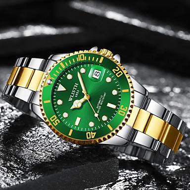 זול שעוני גברים-בגדי ריקוד גברים שעון מכני מכני ידני מתכת אל חלד כסף 30 m לוח שנה זוהר בחושך אנלוגי אופנתי - שחור ירוק כחול