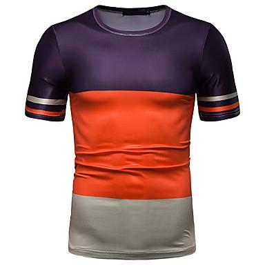 economico Abbigliamento uomo-T-shirt - Taglie UE / USA Per uomo Collage / Con stampe, A strisce / Monocolore / Pop art Rotonda - Cotone Verde L