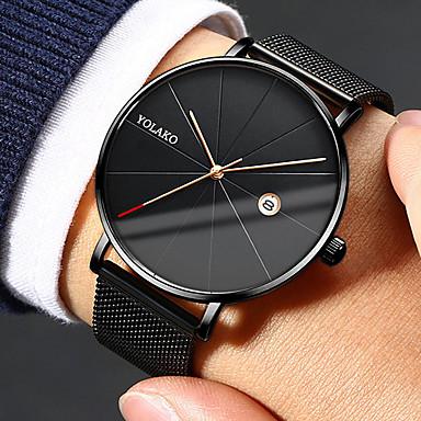 Недорогие Часы на металлическом ремешке-Муж. Нарядные часы Кварцевый Нержавеющая сталь Черный / Серебристый металл 30 m Защита от влаги Календарь Повседневные часы Аналоговый На каждый день Мода Простые часы - / Один год