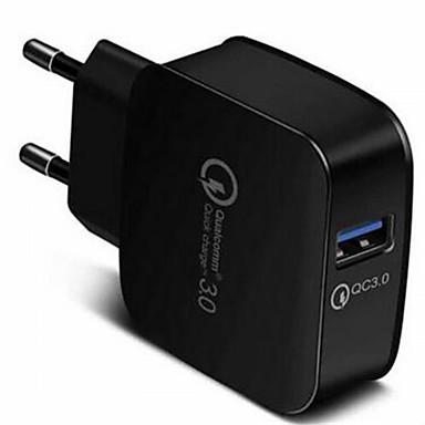 Недорогие Зарядные устройства для телефонов-Быстрое зарядное устройство Зарядное устройство USB Евро стандарт QC 3.0 1 USB порт 3 A 100~240 V для Универсальный