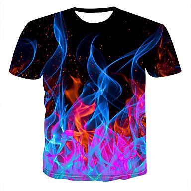 economico T-shirt e canotte da uomo-T-shirt Per uomo Con stampe, 3D Rotonda Nero XXXXL / Manica corta