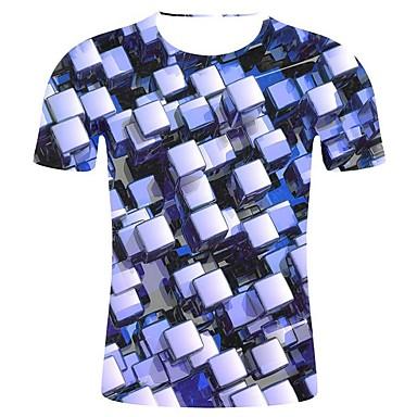 economico Abbigliamento uomo-T-shirt - Taglie forti Per uomo 3D / Artistico Con stampe, Fantasia geometrica / 3D / Pop art Rotonda - Cotone Blu XXL