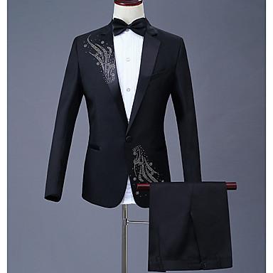 economico Abbigliamento uomo-Per uomo Completi, Fantasia geometrica Colletto Poliestere Nero / Rosso / Viola XXL / XXXL / XXXXL
