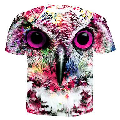 economico Abbigliamento uomo-T-shirt - Taglie UE / USA Per uomo 3D / Pop art / Animali Rotonda - Cotone Arcobaleno XL / Taglia piccola