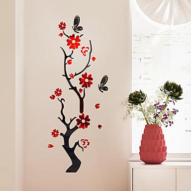 ราคาถูก Wall Art-สติ๊กเกอร์ประดับผนัง - 3D สติ๊กเกอร์แปะกำแพง / สติ๊กเกอร์กระจกติดฝาผนัง ลวดลายดอกไม้ / เกี่ยวกับพฤษศาสตร์ / 3D ห้องนอน / สำนักงาน