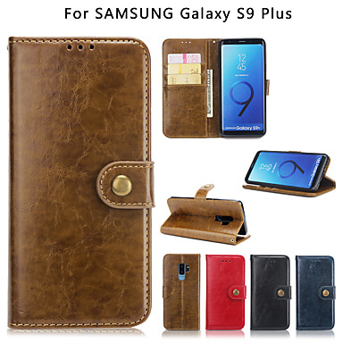 Недорогие Чехлы и кейсы для Galaxy S6-Кейс для Назначение SSamsung Galaxy S9 / S9 Plus / S8 Plus Кошелек / Бумажник для карт / Защита от удара Кейс на заднюю панель Однотонный Твердый Кожа PU