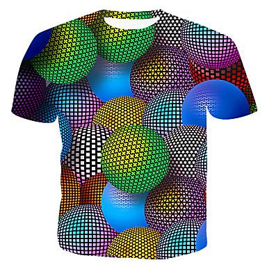 economico Abbigliamento uomo-T-shirt - Taglie UE / USA Per uomo Monocolore / 3D / Pop art Rotonda - Cotone Arcobaleno XL / Taglia piccola