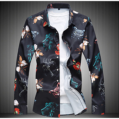 ieftine Îmbrăcăminte la Modă Bărbați-Bărbați Mărime Plus Size Cămașă Floral Imprimeu Negru / Zvelt