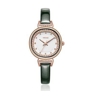 preiswerte Damen Uhren-KEZZI Damen Quartz Uhr Freizeit Schwarz Rosa Marinenblau PU - Leder Japanisch Japanischer Quartz Dunkelgrün Dunkelmarine Pfirsich Armbanduhren für den Alltag 30 m 1 Stück Analog Ein Jahr