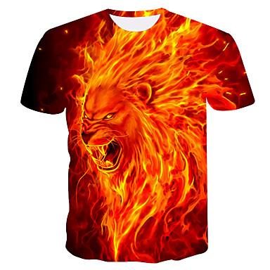 economico Abbigliamento uomo-T-shirt - Taglie forti Per uomo Con stampe, Animali Rotonda Arancione XXL / Estate