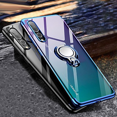 voordelige Huawei Mate hoesjes / covers-hoesje Voor Huawei Huawei P20 / Huawei P20 Pro / Huawei P20 lite Ringhouder / Transparant Achterkant Transparant Zacht TPU / P10 Lite