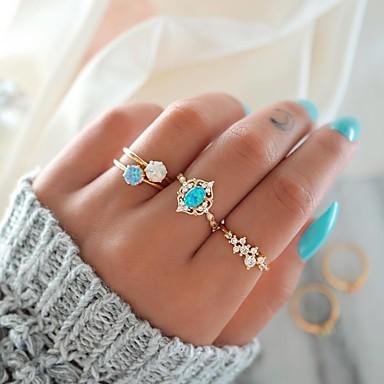 billige Damesmykker-Dame Nail Finger Ring / Ring Set / Midi Ring Opal 4stk Gull Legering Rund Søt / Mote / Fargerik Fest / Gave Kostyme smykker