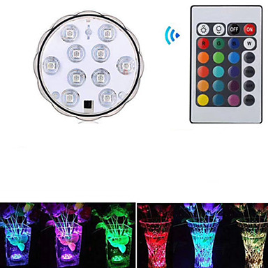 cheap Outdoor Lights-1pc 3 W Underwater Lights Waterproof / Remote Controlled / Decorative RGB 5.5 V Swimming pool / Suitable for Vases & Aquariums 10 LED Beads