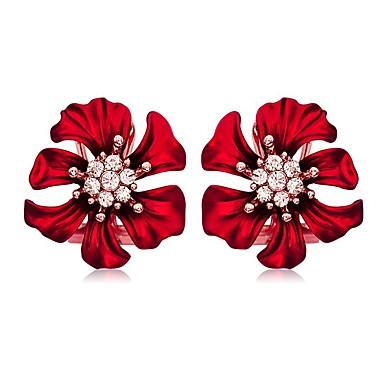 ieftine Cercei-Pentru femei Cercei Stud Cercei Floare Simplu European Dulce Modă Elegant Diamante Artificiale cercei Bijuterii Rosu Pentru Petrecere Cadou Zilnic Dată Ieșire 1 Pair