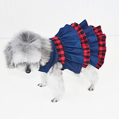 Χαμηλού Κόστους Ρούχα και αξεσουάρ για σκύλους-Γάτα Σκύλος Φορέματα Smoching Ρούχα για σκύλους Βρετανικό Σκούρο μπλε Ντένιμ Στολές Για Άνοιξη & Χειμώνας Καλοκαίρι Γυναικεία Πάρτι καουμπόη Καθημερινά