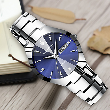 cheap Men's Stainless Steel Watches-Men's Steel Band Watches Quartz Classic Style Stainless Steel Black / White / Sky Blue 30 m Water Resistant / Waterproof Calendar / date / day Noctilucent Analog Casual Butterfly - Silver+Blue Silver