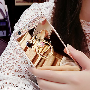 voordelige iPhone X hoesjes-hoesje voor apple iphone 6s / iphone xs max mirror / ringhouder / strass achtercover effen gekleurde zachte tpu voor iphone 5 / iphone se / 5s / iphone 6s