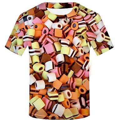 economico Abbigliamento uomo-T-shirt Per uomo Moda città / Esagerato Con stampe, Fantasia geometrica / 3D / Pop art Arcobaleno XXL
