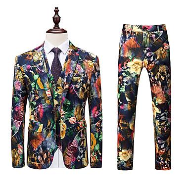 baratos Roupa de Homem Moderna-Homens Ternos / Conjuntos, Geométrica Colarinho de Camisa Poliéster Arco-íris XXXXL / XXXXXL / XXXXXXL