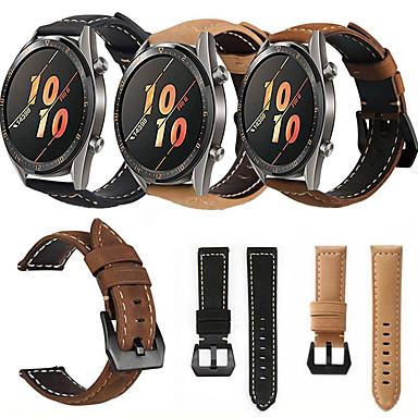 Недорогие Ремешки для часов Huawei-Натуральная кожа ретро браслет ремешок для часов ремешок для часов Huawei GT / Watch 2 Pro Smart Watch